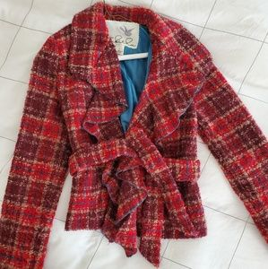 Tabitha Plaid Ruffle Cropped Coat (Anthropologie)